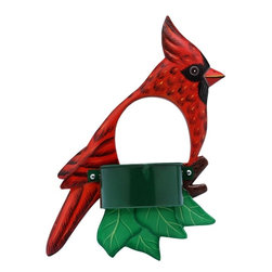 Songbird Essentials - Cardinal Window Birdfeeder - Bring feathered friends closer to you with Songbird Essentials' window birdfeeders. Each feeder is hand-carved from albesia wood, a renewable resource, then hand painted on both sides and coated with polyurethane for added protection. Designed with a hole to watch the visiting bird, one side includes suction cups to firmly attach the feeder to a window. The feeding side has a finished metal cup with a screen bottom to keep seeds dry.