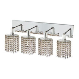 "PWG Lighting / Lighting By Pecaso - Wiatt 4-Light 26"" Crystal Vanity Fixture 1092W-O-E-CL-EC - Whether shown individually or as a collection, our Mini Crystal Chandeliers are stunning in any fashion. This stylish collection offers stunning crystal in a range of colorful options to suit every decor."
