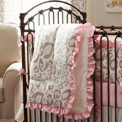 Pink and Taupe Leopard Crib Comforter - Front of comforter features Pink and Taupe Leopard, backed with White Minky Chenille, and edged with Pink Satin Charmeuse ruffled trim.