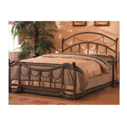 """Coaster - Whittier Panel Bed - This strikingly beautiful Antique Finished Queen Bed with Stylish Rope Motif displays gently curving 61�_"""" wide head & footboards with ornate """"hanging rope"""" detailing.  This stylish rope motif and the lustrous antique metal Finished combine to create a truly impressive bed! * Queen bed. Antique brass color. Made from iron. High curved headboard. Lower profile inversely curved slatted footboard. Casual style. Twisted rope draping detailing. Straight legs. 61.5 in. L x 48.5 in. H. WarrantyThis beautiful queen bed will make a bold centerpiece in your transitional master bedroom. Add this unique and stylish bed to your room for a calming and inviting environment where you can truly relax."""