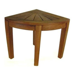Aqua Teak - Teak Corner Stool - Compact footprint to fit in small spaces. Use indoor or outdoor. Natural resistance to water, mold and mildew. Weight capacity up to 250 lbs.. Some assembly required. 22.5 in. W x 15.5 in. D (each side of wedge) x 17.75 in. H (12 lbs)All material is sustainably harvested teak from certified EcoSafe plantations. Teak wood has a life expectancy of 75 years if left untreated due to its natural rubber content that naturally resists moisture. No other wood compares to Teak when it comes to durability, elegance, stability and low maintenance. Provides both functional and aesthetic features to your decor