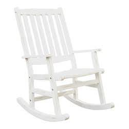 "Lamps Plus - Transitional Bali Hai White Outdoor Rocking Chair - Bali Hai White Outdoor Rocking Chair Washed white weathered finish. Eco-friendly Shorea wood construction. Curved back and contoured seat. Traditional slat design. Stainless steel hardware. 38 1/2"" high. 30 1/2"" wide. 25 3/4"" long.  Washed white weathered finish.  Eco-friendly Shorea wood construction.  Curved back and contoured seat.  Traditional slat design.  Stainless steel hardware.  38 1/2"" high.  30 1/2"" wide.  25 3/4"" deep."
