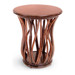 Palecek - Vinewood Side Table - Pole rattan hand-bent in vine-like shapes in two toned brown finish. Plantation hardwood top and base in brown finish.