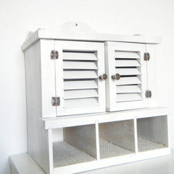 Wooden Curio Cabinet Upcycled - Handmade upcycled wooden curio cabinet with its original hardware in shabby antique white paint finish.