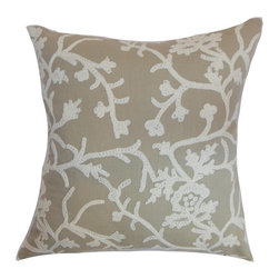 "The Pillow Collection - Paksane Floral Pillow Pumice 18"" x 18"" - This floral throw pillow makes a great accent piece for your living room or bedroom. Blooming flowers are highlighted on the gray-hued fabric. Place this square pillow beside solids and textured decor pieces to bring out a charming interior styling. This 100% soft cotton pillow brings extra comfort and a homey vibe. Hidden zipper closure for easy cover removal.  Knife edge finish on all four sides.  Reversible pillow with the same fabric on the back side.  Spot cleaning suggested."