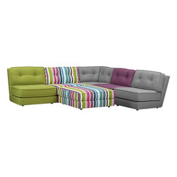 Botao Sectional Pieces - This sectional mixes classic lines with elegantly colored gray textiles and bold color. I like the idea of mixing and matching the pieces to create the right balance.