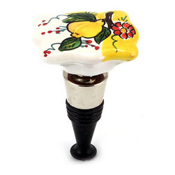 Artistica - Hand Made in Italy - Limone-Fiore: Bottle Stopper - Rectangular - Lemon/Yellow Design - Our all new and exclusive Limone Fiore collection was inspired by the renowned Amalfi Coast lemons...