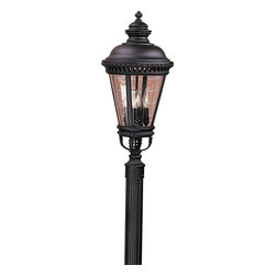 Murray Feiss - Murray Feiss Castle Traditional Outdoor Post Lantern X-KB8091LO - Botanical accents and beautiful beaded trim draws the eye in to this Murray Feiss outdoor post lantern light. From the Castle Collection, the renaissance styling is accentuated by a dark Black finish over die cast aluminum construction. Four candelabra style lights add to the traditional appeal and pull the look together.