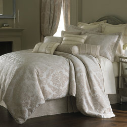 Rose Tree - Crystal 6-piece Comforter Set - The Crystal 6-piece comforter set is an exquisite addition to any elegant bedroom. It features a floral jacquard with textural details and intricate designing in a cream and tan finish. Dry clean only for care.