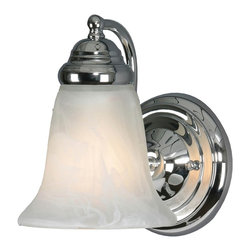 Golden Lighting - Centennial CH 1-Light Wall Sconce in Chrome - Bulb not included. Traditional style. Requires one 100 watt medium incandescent Type A bulb. Marbled glass shade. Can be mounted with the glass facing up or down. Flexible arms. Used in bath, foyer, kitchen, living and bedroom. Black and white wire gage. One E27 type porcelain socket in white. Electric wire gage: 18# 3321 150 degree C. Maximum wattage: 100W. Total wattage: 100W. Metallic finish. UL and CUL certified. UL listed for damp location. Made from metal and glass. Wire length: 8 in.. Fixture extension: 7 in.. Backplate extension: 1.37 in.. Canopy back plate: 5.12 in. Dia.. Glass: 5.5 in. Dia. x 5.25 in. H. Overall: 4.5 in. W x 8 in. H. Assembly Instructions. Warranty