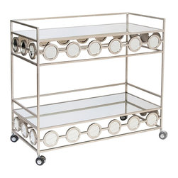 worlds away - Worlds Away Carr Silver Leafed Bar Cart - Worlds Away Carr Silver Leafed Bar Cart
