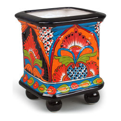 "Small Talavera Ball-footed Square Planter - This small square planter will add a splash of color anywhere in your home or on your patio. Use alone in small areas, or group together to create an herb garden or plant collection. Handcrafted and hand-painted in Mexico. Expect variations in colors and design. Your pot will be chosen from currently available colors and designs. 8""w x 8""w x 10""h. Free shipping in the continental US."