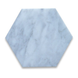 "Stone Center Corp - Carrara Marble Hexagon Tile 6 inch Polished - Carrara white marble 6"" (from point to point) hexagon tile"