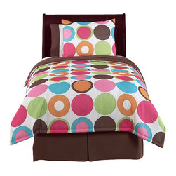Sweet Jojo Designs - Deco Dot Children's Bedding Set Full/Queen (3-Piece) - The deco dot children's bedding set by Sweet Jojo Designs will help you create an incredible room for your child. This girl bedding set features a sensational Jojo exclusive bright large dots print. This collection uses the stylish colors of hot pink, bubble gum pink, turquoise, lime green, orange, chocolate brown and crisp white. The design uses brushed microfiber fabrics that are machine washable for easy care. This set comes in a twin and Full/Queen size. The twin bedding set is a 4-piece set that comes with a comforter, pillow sham, bed skirt, and window valance. The Full/Queen bedding set is a 3-piece set that comes with a comforter and 2 pillow shams.