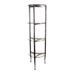 Form & Reform - Pan Etagere - This long-legged étagère, or tall shelf unit, is just the thing for your guest bath or powder room. With clean lines, a hammered-steel frame, and four round glass shelves, you can stack hand towels and other necessities with ease.