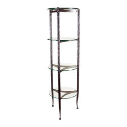 Form & Reform - Pan Étagère - This long-legged étagère, or tall shelf unit, is just the thing for your guest bath or powder room. With clean lines, a hammered-steel frame, and four round glass shelves, you can stack hand towels and other necessities with ease.