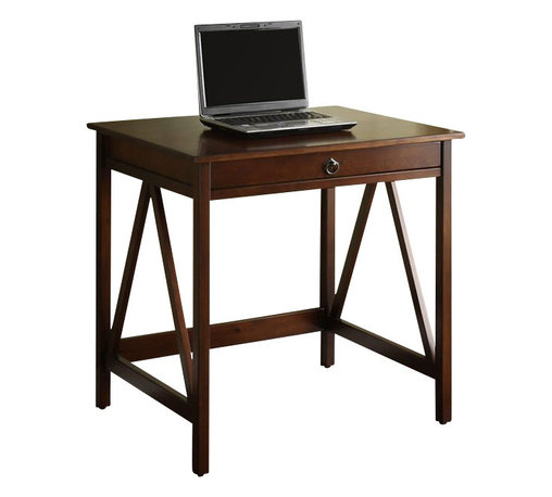 Linon - Linon Titian Laptop Desk in Antique Tobacco - Linon - Computer Desks - 86155ATOB01KDU - Our Titian Collection has a simple yet eye-catching design that is matched with incredible durability. This versatile laptop desk makes good use of space with ample work and display space. A single, wide drawer provides ample hidden storage space for small items or even a keyboard. A neutral, classic Antique Tobacco finish allows this piece to easily complement your homes decor.