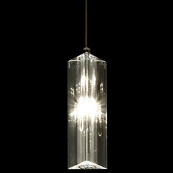 Trend Lighting - Solo 3-Sided Pendant by Trend Lighting - Gleaming like sunlight off ice, the Trend Lighting Solo 3-Sided Pendant shines with pure elegance. Its crystal glass shade is shaped like an elongated triangle, giving the light a prismatic effect. Truly a stunning piece--pictures don't do it justice. Hang several over the dining room table as a lighting centerpiece.Planted and nurtured in a California basement more than 20 years ago, and founded on the principles of quality and innovation, Trend Lighting has grown to create products to complement a variety of styles, from contemporary to classic traditional.The Trend Lighting Solo 3-Sided Pendant is available with the following:Details:Hand polished cut crystal shadeMetal supportsPolished Chrome finishRound ceiling canopyAdjustable suspension cableLow voltage electronic transformerUL ListedLighting: One 20 Watt 12 Volt G4 Bi-Pin Type Halogen lamp (included).Shipping:This item usually ships within 1 week.