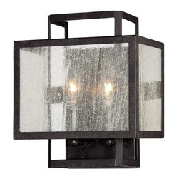 Minka-Lavery - Camden Square Clear Wall Sconce by Minka-Lavery - Urban elegance is achieved with clean design and traditional finishes. The Minka-Lavery Camden Square Clear Wall Sconce exemplifies transitional simplicity with strong lines in rich Aged Charcoal and delicate Clear Seeded glass. The nested rectangular frame offers a sense of symmetry and balance and its versatile styling can blend in or stand out depending on the design scheme at large. Minka-Lavery, recognized as a leader in modern elegance, offers decorative lighting with high quality craftsmanship in a variety of materials, including solid brass, wrought iron and cast aluminum. Located in Corona, CA, the Minka Group is branched into three providers that offer creative designs as well as timeless classics: Minka-Lavery lighting, Minka Aire fans and George Kovacs lighting.