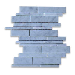 "Stone Center Corp - Carrara Marble Random Strip Modern Brick Mosaic Tile Honed - Carrara white marble random size pieces mounted on 12"" x 12"" sturdy mesh tile sheet"