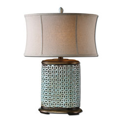 Uttermost - Rosignano Crackled Blue Table Lamp - This swing arm table lamp is oxidized brass with a rubbed patina finish. The round bell shade has a hand antiqued, saddle brown finish.