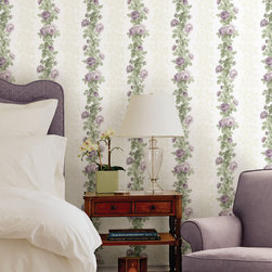 Preshea Purple Rose Stripe Brewster Wallpaper - The Claremont book from Brewster is full of classic colors and patterns to add a relaxed feeling of home to rooms.