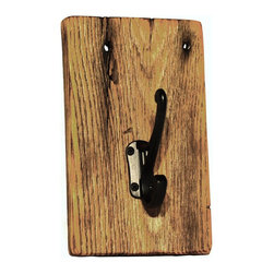 Handcrafted - Barn Wood Coat Rack with One Hook - This handcrafted coat rack is made of 100+ year-old wood from a barn located in the foothills of the Appalachian Mountains.  Perfect to use as a towel holder or a rack for a coat, purse, keys, backpack, etc.