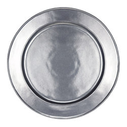 Pewter Stoneware Charger Plate - Round - Soft light glints off the surface of the Pewter Stoneware Charger Plate, imbuing your dining area with the ambiance of a warm and welcoming European bistro. The polished style is modern and minimalist, yet the subtle artisanal texture lends just a hint of old-world glamour. Delightful as a foundation for your dinner plate; dazzling as a serving piece.