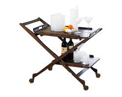 Hemingway Bar Cart - This two-tiered bar cart is inspired by an unusual 1960's vintage find. Folding legs are cleverly disguised underneath the removable top tray which, when taken off the cart, can double as a bed tray. Brass hardware and brass pivoting wheels. Bed Tray is also sold separately.