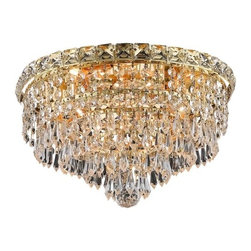 "PWG Lighting / Lighting By Pecaso - Karci 4-Light 14"" Crystal Flush Mount 2148F14G-RC - The Karci Collection is as serene as its namesake. Layers of cascading crystal form this series of Crystal Chandeliers and Crystal Flush Mounts. Quietly and graceful this design to work in a wide range of decorating styles."
