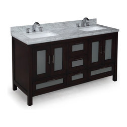Kitchen Bath Collection - Manhattan 60-in Double Sink Bath Vanity (Carrara/Chocolate) - This bathroom vanity set by Kitchen Bath Collection includes a chocolate cabinet with tempered glass windows, soft close drawers and self-closing door hinges, double-thick Italian Carrara marble countertop (an incredible 1.5 inches at the edge!), double undermount ceramic sinks, pop-up drains, and P-traps. Order now and we will include the pictured three-hole faucets and a matching backsplash as a free gift! All vanities come fully assembled by the manufacturer, with countertop & sink pre-installed.