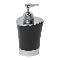 Pp Soap Dispenser Black - This lovely soap dispenser for bathrooms is in polypropylene and will add a modern look and feel to your decor. The sleek, simple lines and contemporary curves of this conical soap dispenser and the brushed nickel accents will add a stylish look to any bathroom. The top has a chrome-plated opening which unscrews for refilling with soap or lotion. It features a length of 3.15-Inch, a width of 3.15-Inch and a height of 5.91-Inch. Wipe clean with soapy water. Color black. Accessorize your bathroom countertop in a trendy style with this charming soap dispenser! Complete your decoration with other products of the same collection. Imported.
