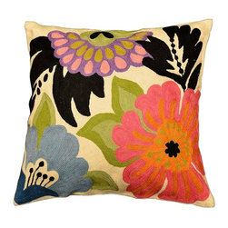 """Modern Wool - Modern Floral Design Pillow Cover I Hand Embroidered 18"""" x 18"""" - Modern floral design pillow cover - This floral design would have made a big splash in the flower-power days of the 60s, but it's equally winsome today. The vivid colors of the flowers against the black and cream background motif really show off. Whether used in garden, patio, or in a room, on a sofa, chair or chaise, this all natural fiber, wool chain stitch on cotton base is soft, practical and durable. The button fastening on the reverse is an extra touch of class. Cover existing throw pillows to create a whole new look, or use it as an accent piece covering a fresh pillow form."""