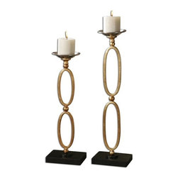 """Carolyn Kinder - Carolyn Kinder Lauria Chain Link Candle Holder X-03891 - Metal, chain link candleholders finished in metallic gold leaf with chrome candle cups and matte black bases. Beige candles included. Sizes: Small - 6"""" x 19"""" x 4"""", Large - 7"""" x 24"""" x 5""""."""