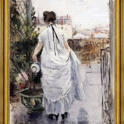 "Berthe Morisot-16""x20"" Framed Canvas - 16"" x 20"" Berthe Morisot Young Woman Watering a Shrub framed premium canvas print reproduced to meet museum quality standards. Our museum quality canvas prints are produced using high-precision print technology for a more accurate reproduction printed on high quality canvas with fade-resistant, archival inks. Our progressive business model allows us to offer works of art to you at the best wholesale pricing, significantly less than art gallery prices, affordable to all. This artwork is hand stretched onto wooden stretcher bars, then mounted into our 3"" wide gold finish frame with black panel by one of our expert framers. Our framed canvas print comes with hardware, ready to hang on your wall.  We present a comprehensive collection of exceptional canvas art reproductions by Berthe Morisot."