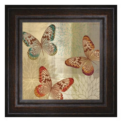 """Posters 2 Prints LLC - Tropical Butterflies II - Tropical Butterflies II by Tandi Venter. Canvas Giclee framed with a beautiful 2.125"""" Distressed Brown frame. Our Canvas Giclee product is made using a Giclee printing process that uses up to 12 different color inks that spray onto high quality canvas paper to give a product that looks most like an original painting."""