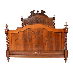 Consigned Antique French Walnut Bed, Queen Size - Antique French walnut Louis XIII-style bed. Headboard features large pediment and central finial, the panels are carved with urns and flora flanked by barley-twist columns and are supported on turned feet. Side rails were extended/converted to accommodate queen-size mattress, held in place by L-shaped brackets on the rails. Complete with all hardware.