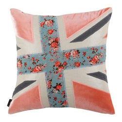 "Blissliving Home ""Jack"" Decorative Pillow - I'm kind of addicted to Union Jacks, so it's great that there are so many fun versions out there, like this one. Velvet, linen, floral-print appliqués and metallic linen — this one has it all!"
