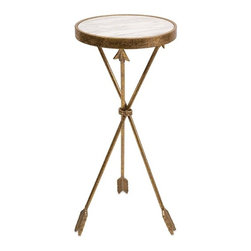 "Imax - Tripod Arrow Gold Marble Top Table - *Dimensions: 30""h x 13.75""w x 13.75"""
