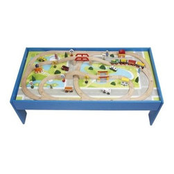 CHH Train Table with Train Set - Give your kids hours of fun and exploration with the CHH Train Table with Train Set. Standing 15.5 inches tall and built into a blue wooden frame this 80-piece set has the makings for becoming your child's favorite toy. The wooden track consists of cut-and-match pieces that your child can assemble like a puzzle. It includes two bridges and one street crossing to push the train through. The train features an engine and three cars. These train tracks run through a busy metropolis made evident by the street signs and buildings it will pass along its route. There are also city vehicles included like an ambulance. Children may also enjoy running the cars along the printed city streets without the train track. There are so many ways to enjoy this train table. Order today so your child can discover all the ways for himself. About CHHAt CHH Quality Product Inc. their goal is simple: to introduce you to top-end sophisticated games and gifts of leisure that represent the world's best in fun education and sophistication. By not compromising on craftsmanship they offer products to delight the senses as much as the mind. Their product line includes an extensive collection of traditional and modern games along with contemporary gift products such as illuminated globes leaded crystals and time pieces.