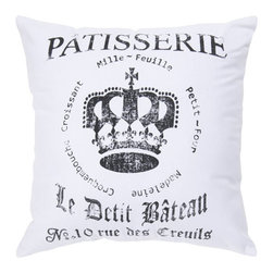 Surya Rugs - Crown 18 x 18 Pillow - A royal crown coupled with French text makes this pillow a hot piece for any room. Colors of white and coal black accent this decorative pillow. This pillow contains a poly fill and a zipper closure. Add this pillow to your collection today.  - Includes one poly-fiber filled insert and one pillow cover.   - Pillow cover material: 100% Cotton Surya Rugs - ST080-1818P
