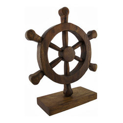 Carved Wooden Nautical Ship`s Wheel Sculpture Figurine - This beautiful carved wooden ship`s wheel sculpture is is a perfect accent to any nautical or beach themed room. Made in Thailand, the sculpture measures 13 inches tall, 10 1/2 inches wide and 1 7/16 inches deep. The wooden base is 8 inches x 3 3/4 inches.