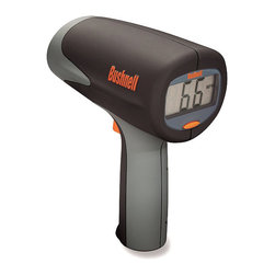 Frontgate - Bushnell Velocity Speed Gun - Measures the speed of a baseball/softball/tennis ball from 6-110 mph, up to 90 ft. away. Measures a vehicle's speed from 6-200 mph up to 1,500 feet away. Easy-to-use, point-and-shoot pistol grip. Large LCD display. Displays fastest speed once trigger is released. Change your perspective of speed on the field or on the road with the Velocity Speed Gun from Bushnell. Using digital technology and digital signal processing (DSP), this device will tell you within 1 mph how fast a player is pitching or running, or how fast a car is driving.  . . . . . +/- one mph accuracy . Operates on 2 C batteries.