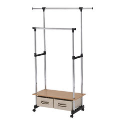ORE International - Double Lever Coat Rack with Storage - This simple and contemporary double coat hanger not only provides additional hanging capacity but also expands storage room with two folding mini storages . This unique design is adjustable in height (ranging from 45 to 68 inches), and also in length for the top hang bar (ranging from 30 to 51 inches). Accompanied with 4 wheels for great mobility and conveniences for placement in multiple setting. Durable and sturdy chrome finished stainless steel frames is supported with a simple classy composite wooden base . 30 in. L x 16 in. W x 62 in. H (17 lbs.)