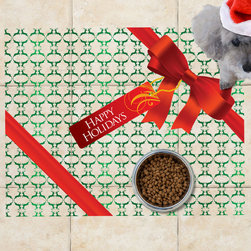 Sniff It Out Pet Mats - Holiday Gift Box Pet Food Mat, Small - Our simple, elegant gift box design is a beautiful way to present your pet's food for the holidays. Versatile enough to go with any floor. Clear vinyl designer mat uniquely designed to resemble beautiful art painted directly onto your floor. The smoothness of the vinyl allows for easy cleanup and lays perfectly flat. Sniff It Out Pet Mats make great gifts and will be a conversation piece that your friends and family won't stop talking about. Made in the USA.