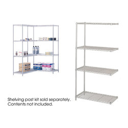 """Safco - Industrial Add-On Unit, 36 x 18"""" - Grey - Go ahead add some more! Use this Add-On with Model 5285. The unit attaches to existing wire shelving to form a continuous shelving unit for corner applications. Kit includes four shelves, two posts and snap-together clips. Strong welded wire construction. Shelves adjust in 1"""" increments and assemble in minutes without tools. Each shelf holds up to 1250 lbs. (with weight evenly distributed). Available in Black or Metallic Gray powder coat finish.; Features: Material: Steel; Color: Grey; Finished Product Weight: 39 lbs.; Assembly Required: Yes; Tools Required: No; Limited Lifetime Warranty; Dimensions: 36""""W x 18""""D x 72""""H"""