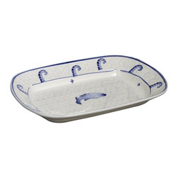 La Pavoni - Hand Painted Calamare Design Rectangular Bowl - Glazed top and bottom. Can be used for serving or display. All are FDA food safe approved. Hand wash is recommended. Made of Italian ceramic. 1-Year warranty. 15.5 in. L x 10.5 in. W