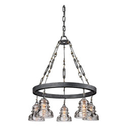 Troy Lighting - Troy Lighting Menlo Park Transitional Pendant Light X-5313F - A unique blend of styles has been used to create this beautiful Troy Lighting pendant light. From the Menlo Park Collection, it features five lights housed in beautiful historic pressed clear glass shades. To complete the look, an elegant Old Silver finish has been used. The body is made from hand worked iron, stainless steel and solid brass to ensure it lasts for many years to come.