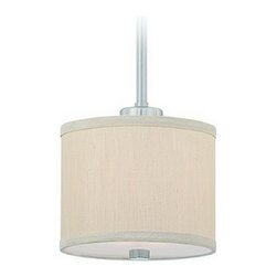 """Dolan Designs Lighting - Mini-Pendant with Beige Fabric Shade - 2941-09 - Transitional satin nickel 1-light mini-pendant light. This adjustable mini-pendant comes with one 6-inch and three 12-inch stem segments with an integrated sloped ceiling adapter. Height is adjustable between 15-1/4-inches and 51-inches. The shade measures 5-1/2""""h x 7""""w. Takes (1) 60-watt incandescent A19 bulb(s). Bulb(s) sold separately. UL listed. Dry location rated."""