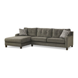 Siroun 2 Piece Sectional - Tufted back cushions and plush seating are a cozy contrast to this sectional's slender track arms and slim black legs. Featuring a smoky gray hue with olive green undertones, the upholstery enhances the sophisticated design, which is adorned with light stitching and reversible twig print pillows.